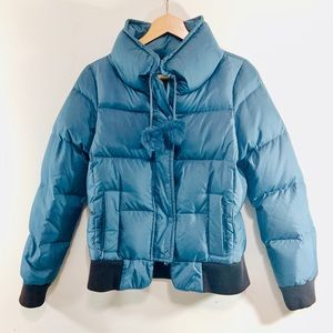 Juicy couture puffer bomber with pompom string